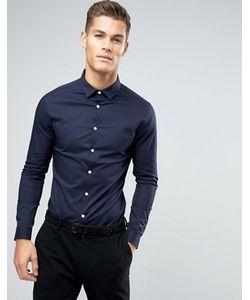 Asos | Темно-Синяя Супероблегающая Рубашка