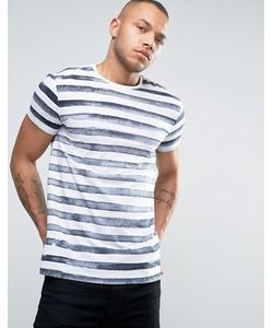 Esprit | Crew Neck T-Shirt In Painted Stripe Print