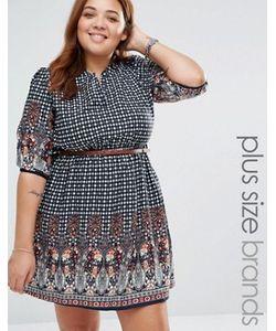 Yumi Plus | Платье С Поясом И Принтом