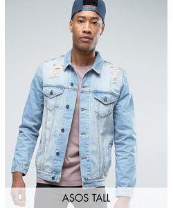 Asos | Выбеленная Джинсовая Куртка С Рваной Отделкой Tall