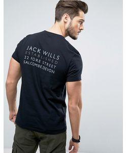 Jack Wills   Черная Футболка С Логотипом На Спине Westmore