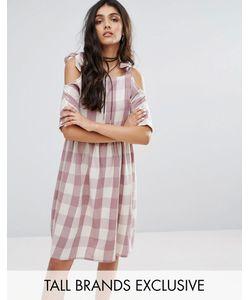 Glamorous Tall | Платье Миди В Клетку С Вырезами На Плечах