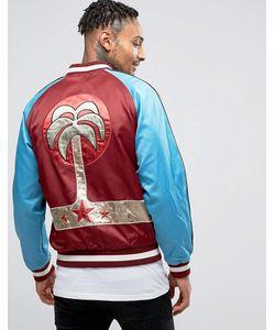 Diesel | Атласная Спортивная Куртка С Вышивкой Пальмы J-Bakery