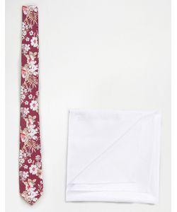 Asos | Галстук С Цветочным Принтом В Комплекте С Белым Платком-Паше