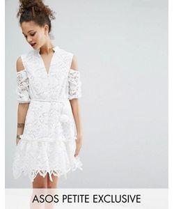 ASOS PETITE | Кружевное Платье С Открытыми Плечами И Помпонами На Поясе
