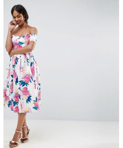 Asos | Платье Для Выпускного С Открытыми Плечами И Цветочным Принтом