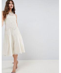 Asos   Платье Миди С Кружевной Отделкой