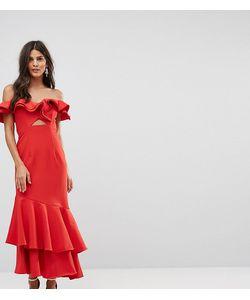 JARLO | Платье Макси С Открытыми Плечами Оборкой И Вырезом