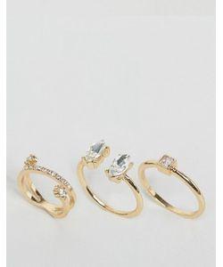 Asos | 3 Золотистых Кольца С Камнями