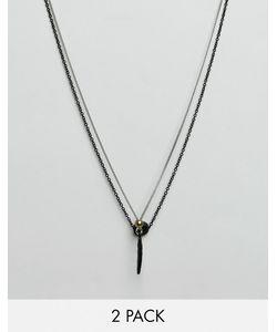 Icon Brand | 2 Ожерелья С Подвесками В Виде Перьев И Дисков
