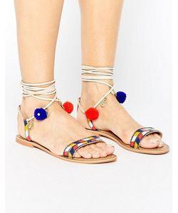 Glamorous | Pom Pom Tie Up Multi Leather Flat Sandals