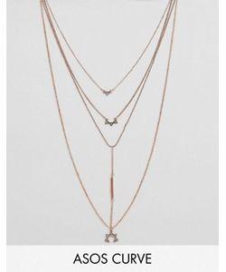 ASOS CURVE | Многорядное Ожерелье С Планкой И Подвесками