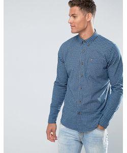 Hollister   Синяя Приталенная Поплиновая Рубашка В Клетку