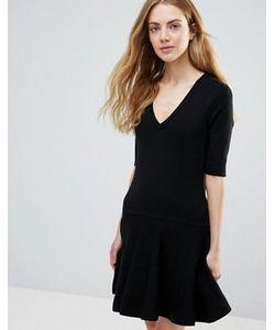 Ganni   Черное Классическое Платье Мини Williams