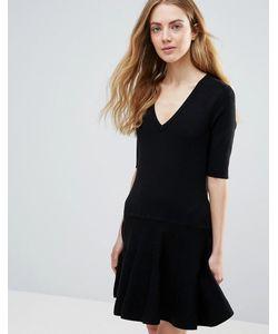 Ganni | Черное Классическое Платье Мини Williams