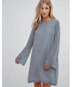 Ganni | Полосатое Платье Из Ткани Жоржет Allen Verona