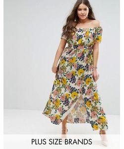 Koko | Платье Макси Со Спущенными Плечами И Цветочным Принтом Plus