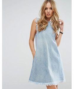 Replay   Джинсовое Платье С Необработанными Краями