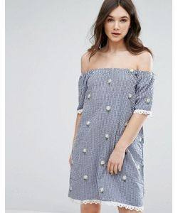 Qed London | Off Shoulder Gingham Dress With Embroidered Daisies