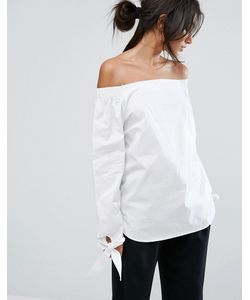 J.O.A | Off Shoulder Top With Wide Tie Detail Sleeves