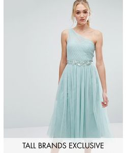 Little Mistress Tall | Full Prom Tulle One Shoulder Midi Dress With