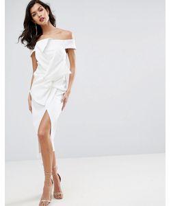 Asos | Платье Миди С Открытыми Плечами И Бантом Premium