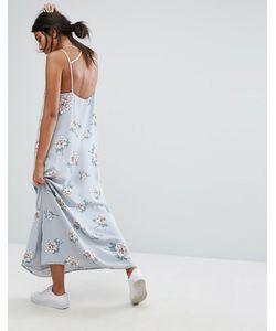 J.O.A | Платье Макси С Глубоким Вырезом Сзади И Цветочным Принтом