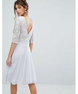 Elise Ryan | Платье Миди С V-Образным Вырезом На Спине И Кружевным Верхом Elise