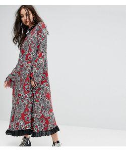 Reclaimed Vintage   Платье Макси С Рукавами Клеш И Заклепками Inspired