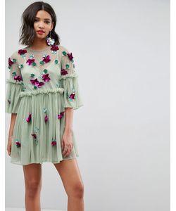 Asos | Свободное Платье Мини С Расклешенными Рукавами