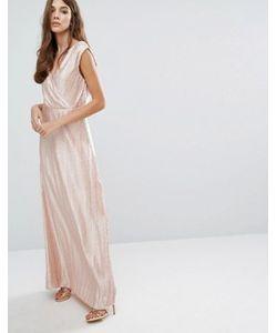 Vero Moda | Плиссированное Платье Макси Металлик С Запахом