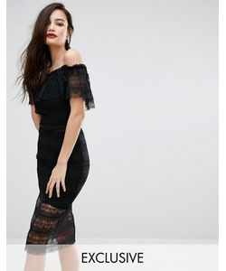 Body Frock | Кружевное Платье Миди С Открытыми Плечами И Ремешком Bodyfrock