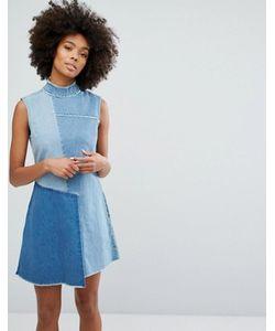Waven | Джинсовое Платье С Высоким Воротом И Контрастными Вставками