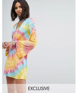 Rokoko | Свободное Платье С Принтом Тай-Дай Чокером И Широким Рукавами