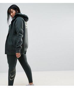 Nike | Зеленые Леггинсы С Логотипом Металлик Plus