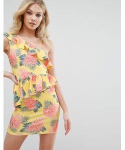 MISSGUIDED | Облегающее Платье На Одно Плечо С Тропическим Принтом