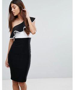 Vesper | Монохромное Платье-Футляр На Одно Плечо С Оборкой