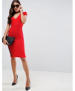 Asos | Облегающее Структурированное Платье Миди В Рубчик С V-Образным Вырезом