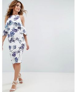 Asos | Фактурное Платье Миди С Открытыми Плечами И Принтом