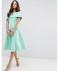 Asos | Платье Миди Для Выпускного Со Спущенными Плечами