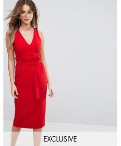 Lavish Alice   Платье Миди С Присборенной Отделкой На Талии