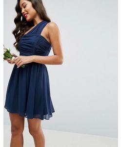 Asos | Присборенное Платье Мини На Одно Плечо Из Шифона