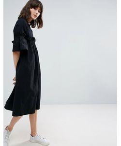 ASOS WHITE | Контрастное Платье С Оборкой