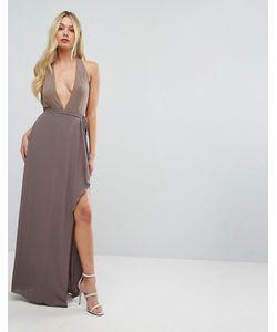BCBGMAXAZRIA | Платье Макси С Глубоким Вырезом И Оборкой