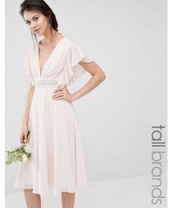 TFNC Tall | Платье Миди С Расклешенными Рукавами И Отделкой На Талии
