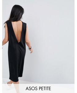 ASOS PETITE | Платье-Футболка Миди Без Рукавов С V-Образным Вырезом На Спине