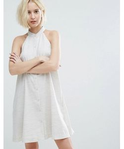Native Youth | High Neck Swing Dress With Button Front