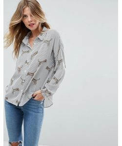 Asos | Полосатая Рубашка С Принтом Тигров