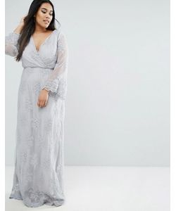 Club L | Plus Embroided Lace Maxi Dress With Wrap Front