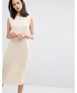Ganni | Плиссированное Платье Миди Цвета Слоновой Кости Hall